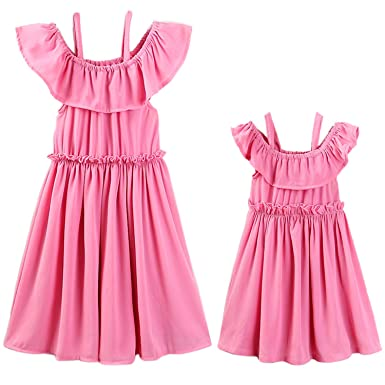 0ed9a7c0f385 Garlagy 2018 Mommy and Me Family Matching Outfits for Mother Toddler Baby  Girl Casual Beach Dresses