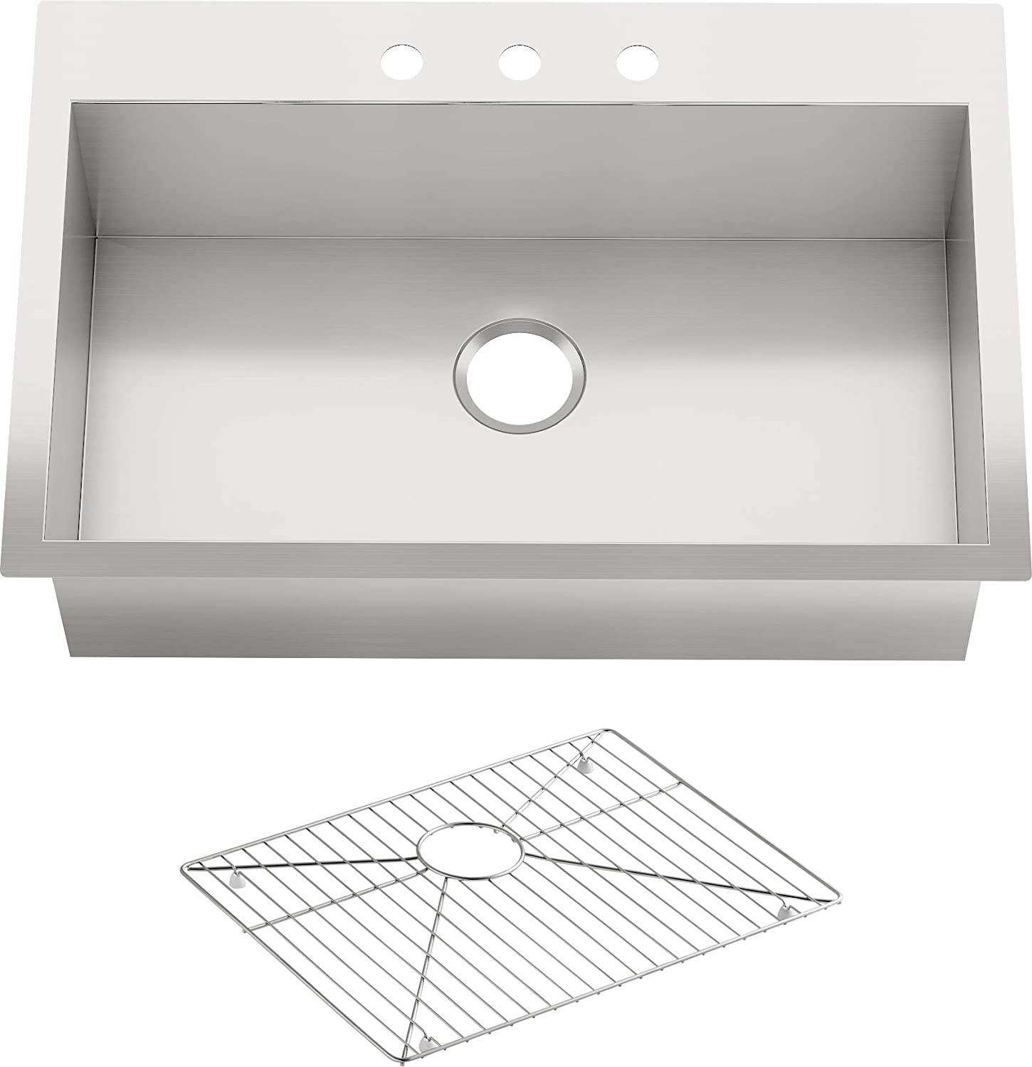 KOHLER Vault 33 Single Bowl 18 Gauge Stainless Steel Kitchen Sink with Three Faucet Holes K-3821-3-NA Drop-in or Undermount Installation, 9 inch Bowl