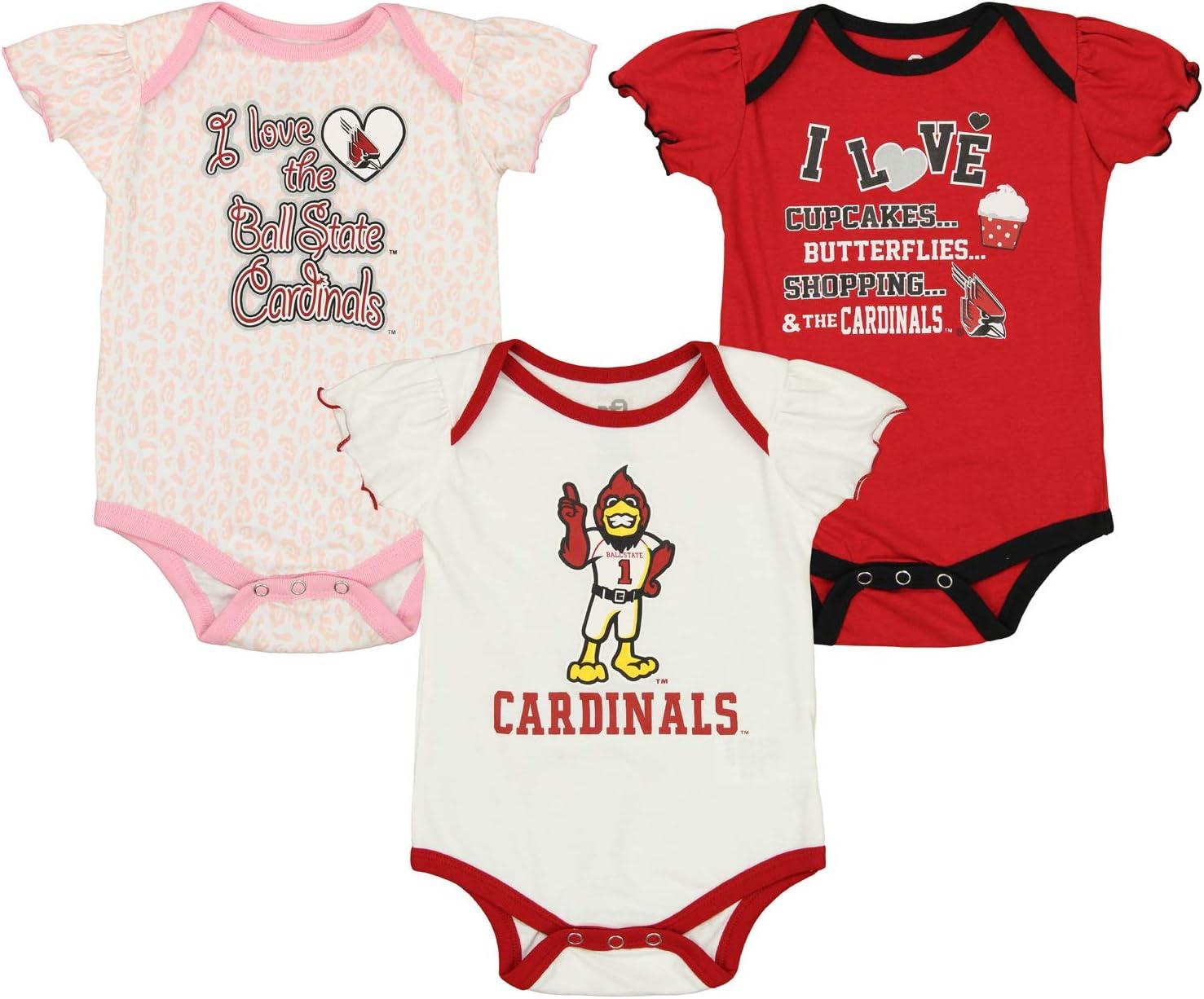 12M-24M Outerstuff NCAA Newborn Girls Three Piece Creeper Set Infant Ball State Cardinals 0-3 Months 0M-9M