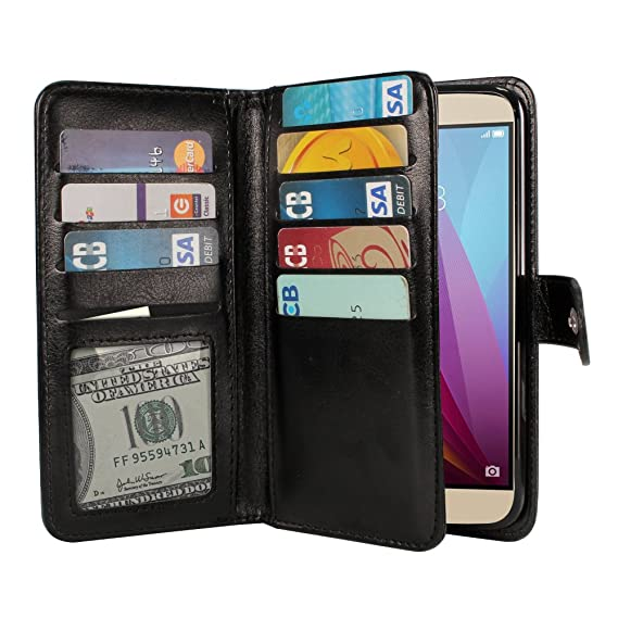 NEXTKIN Honor 5X Case, Leather Dual Wallet Folio TPU Cover, 2 Large Pockets  Double flap Privacy, Multi Card Slots Snap Button Strap For Huawei Honor