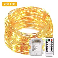 200 LED String Light AA Battery Powered Fairy Light with Remote Control 66ft 20M Indoor and Outdoor Starry Light Waterproof String Lights for Christmas HalloweenTree Garden Wedding Party …