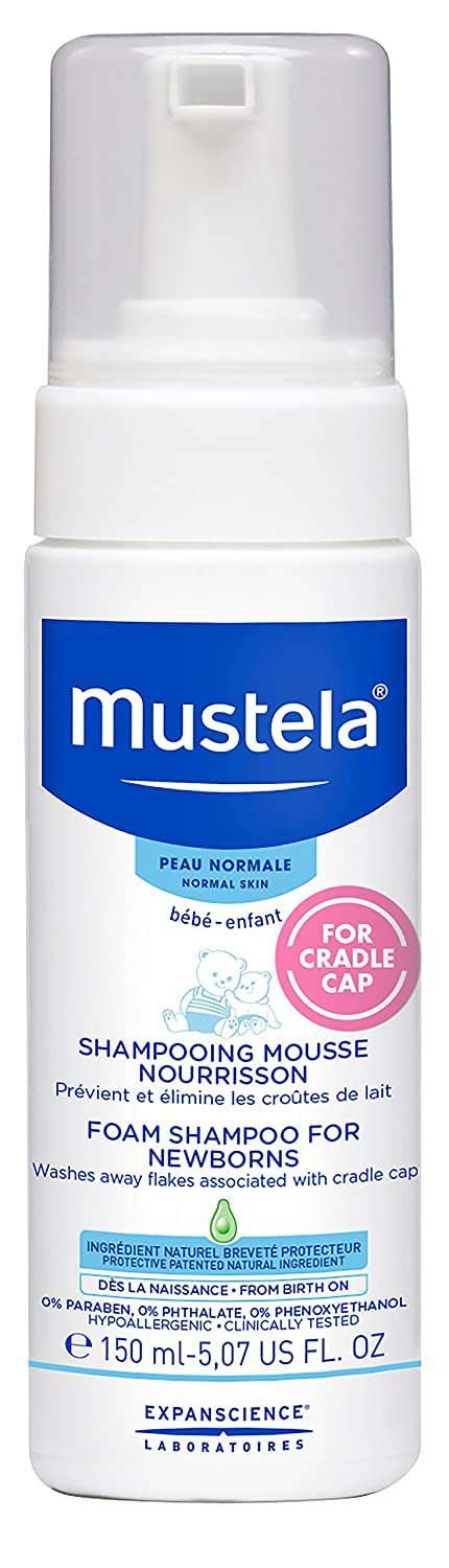 Mustela Foam Shampoo for Newborns, Baby Shampoo, Helps Prevent and Reduce Cradle Cap, with Natural Avocado Perseose, 5.07 Ounce