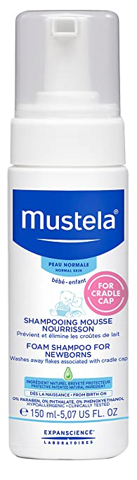 Mustela Foam Shampoo for Newborns, Baby Shampoo, Helps Prevent and Reduce Cradle Cap, with Natural Avocado Perseose