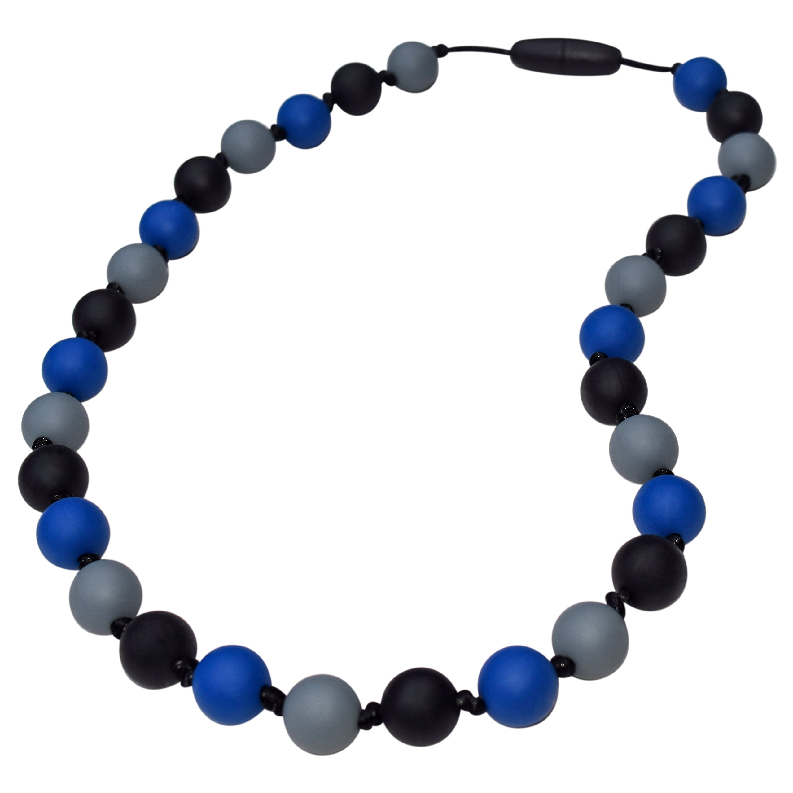 Munchables Camo Chew Necklace for Boys - Sensory Chewable Jewelry (Navy)