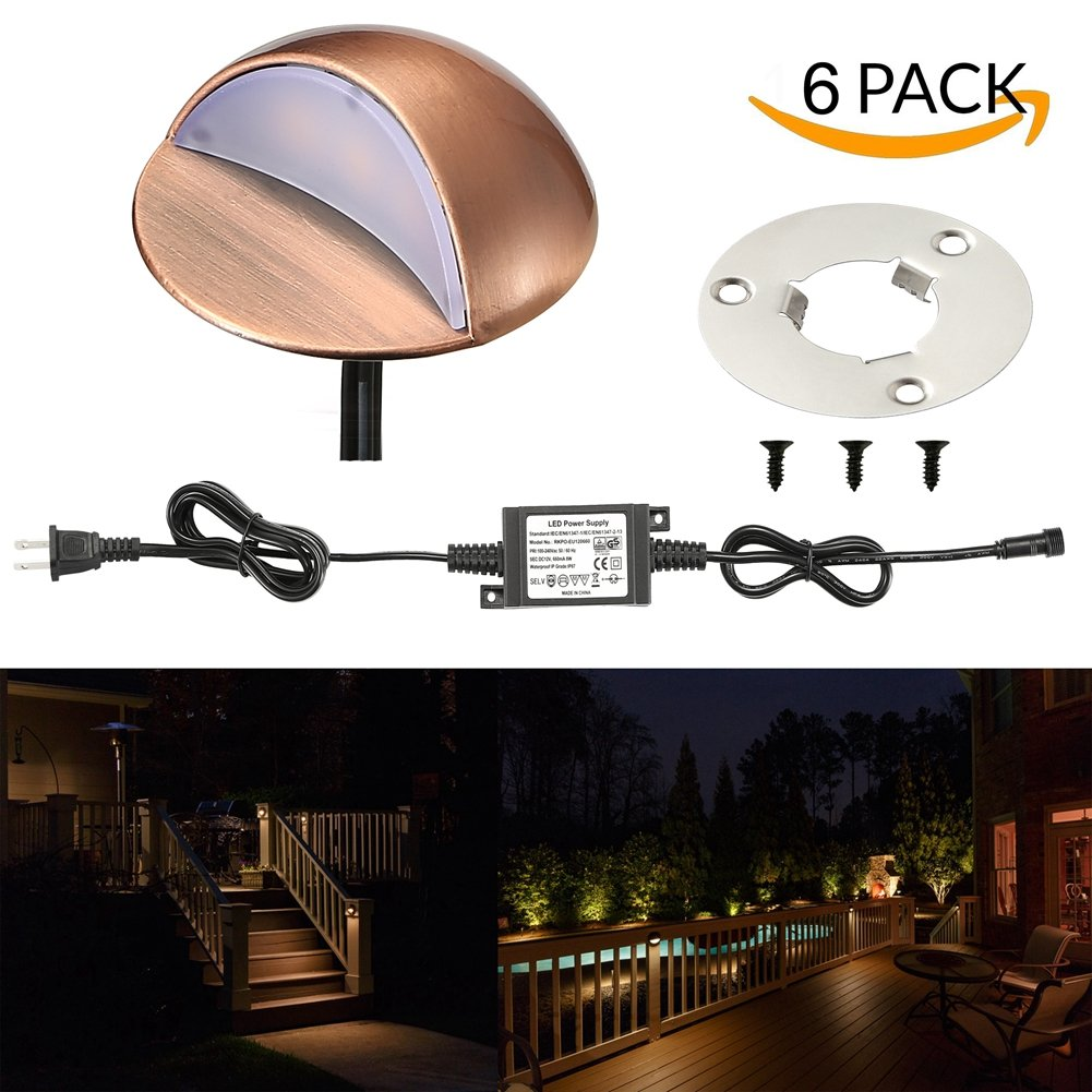 LED Deck Lights Kit, FVTLED Pack of 6 Low Voltage LED Step Stair Lights Φ1.97 Outdoor Garden Yard Decoration Lamp Recessed Landscape Pathway Step Stair Warm White LED Lighting, Bronze