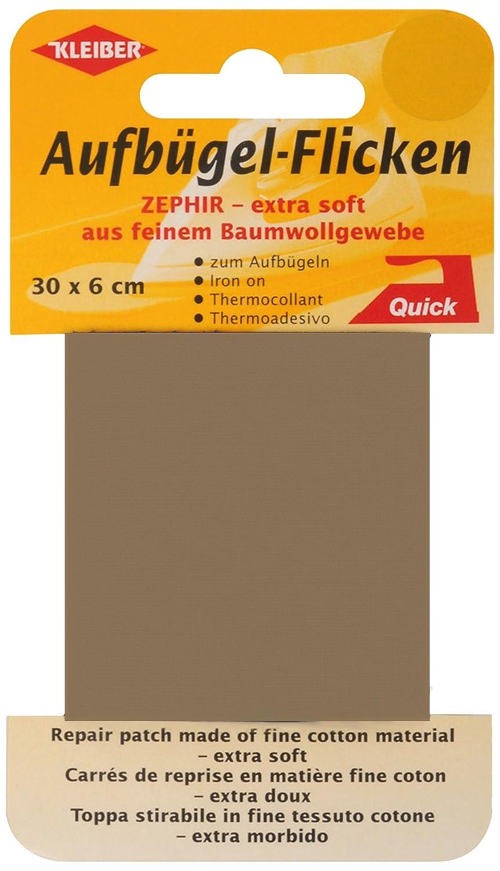 Kleiber - Nastro per riparazioni termoadesivo in cotone extra morbido e sottile 30 x 6 cm, marrone chiaro 310-05