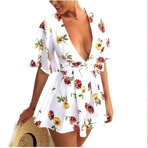 kingte Boho de la mujer V cuello estampado Floral corto Pelele Mono: Amazon.es: Ropa y accesorios