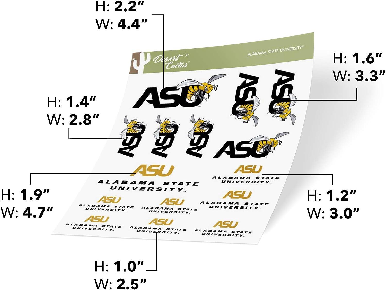 Full Sheet 2-Logo Alabama State University ASU Hornets NCAA HBCU Sticker Vinyl Decal Laptop Water Bottle Car Scrapbook