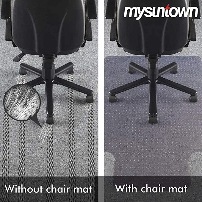 Environmental PVC Vinyl Chair Mat for Carpeted Floors with Grippers Transparent Anti-Slip Desk Chairmat Mysuntown Carpet Chair Mats 1//8 Thick 36 X 48 Standard Floor Protector for Office /& Home