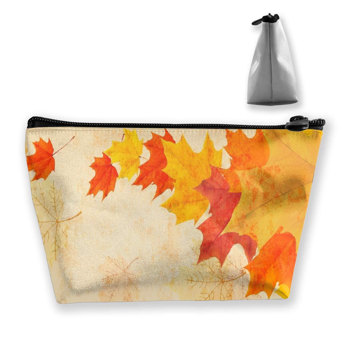 Trapezoid Toiletry Pouch Portable Travel Bag Maple Leaves Pen Organizer