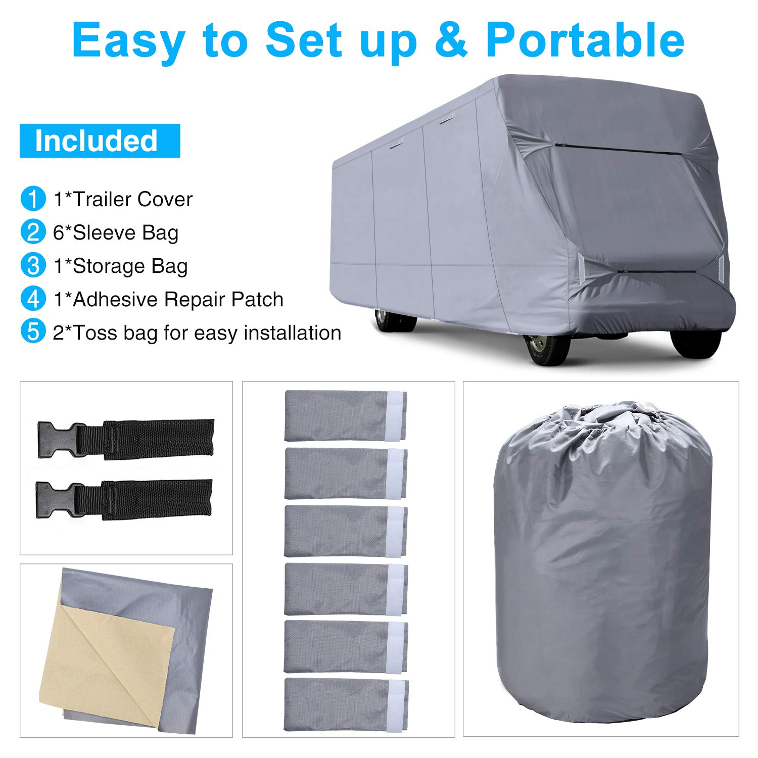 More Waterproof Anti-UV Ripstop Camper Cover Fits 23-26 Trailer Camper With Adhesive Repair Patch RVMasking Oxford Class C RV Cover