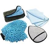 SEG Direct Basic Car Cleaning Kit 4 Set - Ultra Soft Chenille & Coral Velvet Wash Mitt + Super Quick Drying Towel + Dual Purpose Wax Applicator Pad + Extra Thick Polishing Towel