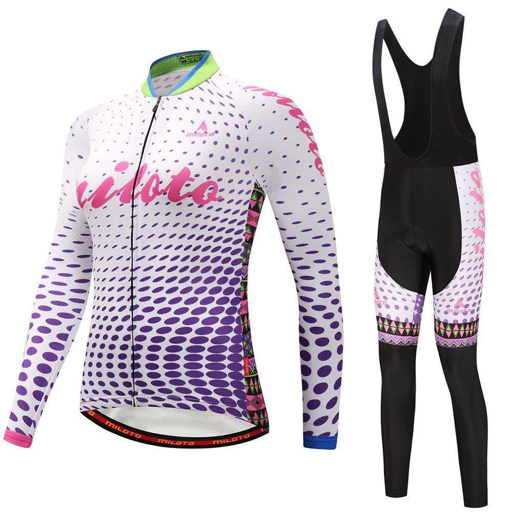 Uriah Women 's Cycling Jersey andブラックBibパンツ熱フリースセット長袖反射 B0785QCPRT Chest 45.6''=Tag XXXL|Purple Crystal Purple Crystal Chest 45.6''=Tag XXXL