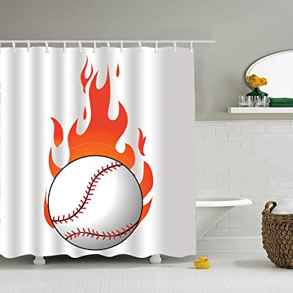 Amazon MALBX Flaming Baseball Shower Curtain Waterproof