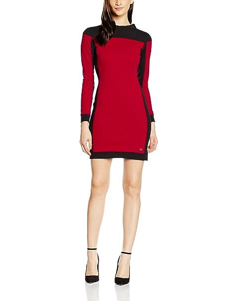 Cuplé, Vestido Recto Negro Y Rojo - Faldas y Vestidos de Larga para Mujer,