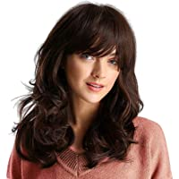 Baosity Medium Length Curly Hair Synthetic Brown Wig With Bangs for Women Cosplay Party