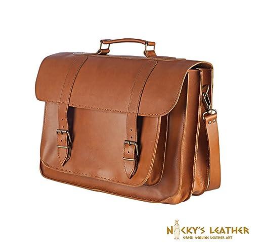 c08dec51bbdb Amazon.com: LEATHER MESSENGER BAG 17 inch Laptop Bag Leather ...