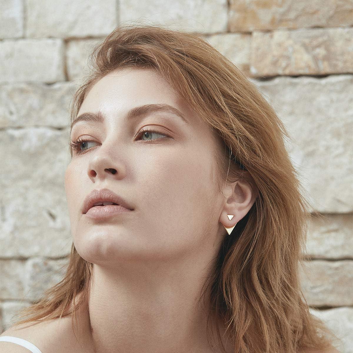 14K Gold Plated Unique Piercing Stud Earring Ear Jacket Dangle Earrings for Women/… Open Triangle Geometric Earring