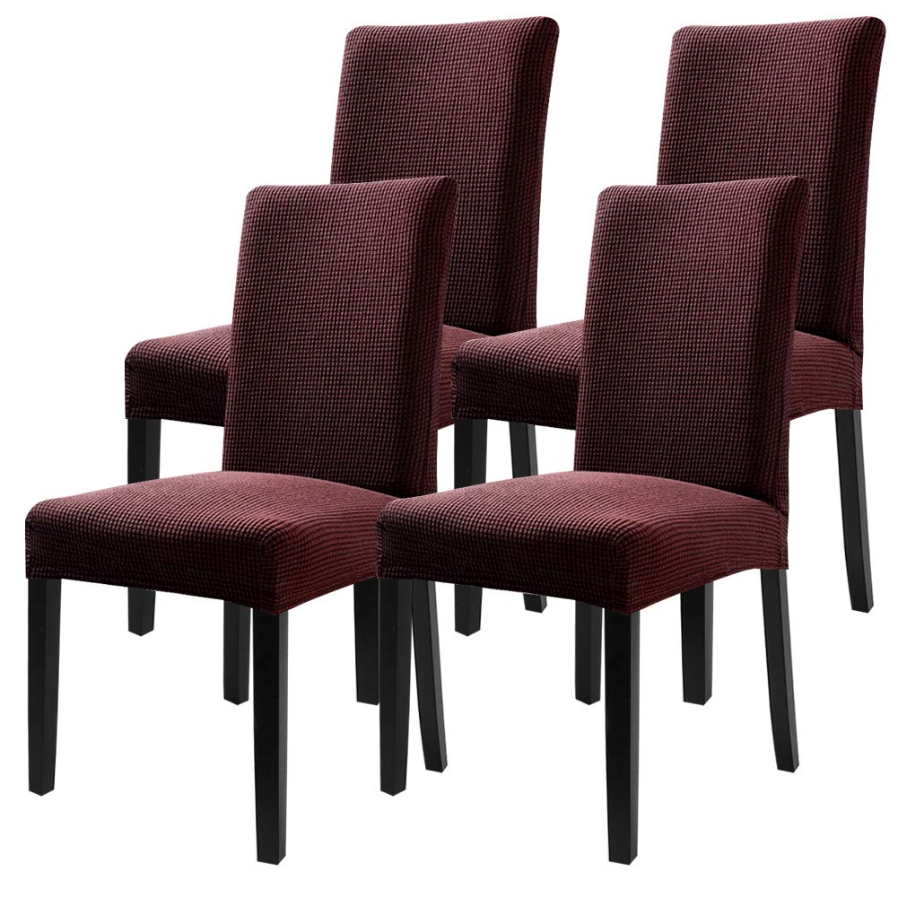 Fuloon Super Fit Stretch Removable Washable Short Dining Chair Protector Cover Seat Slipcover for Hotel,Dining Room,Ceremony,Banquet Wedding Party (4 Per Set, CB)