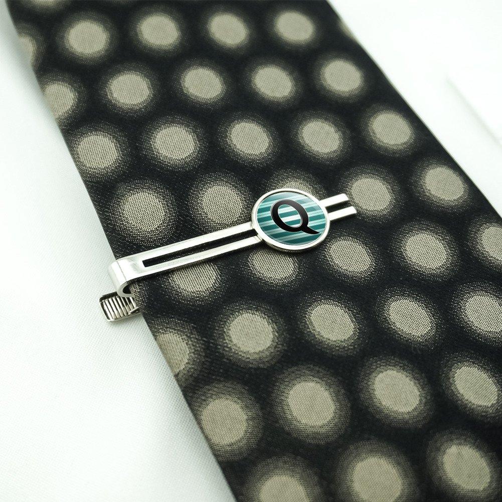 Letter Q Initial Black Teal Stripes Mens Tie Clip Tack Bar