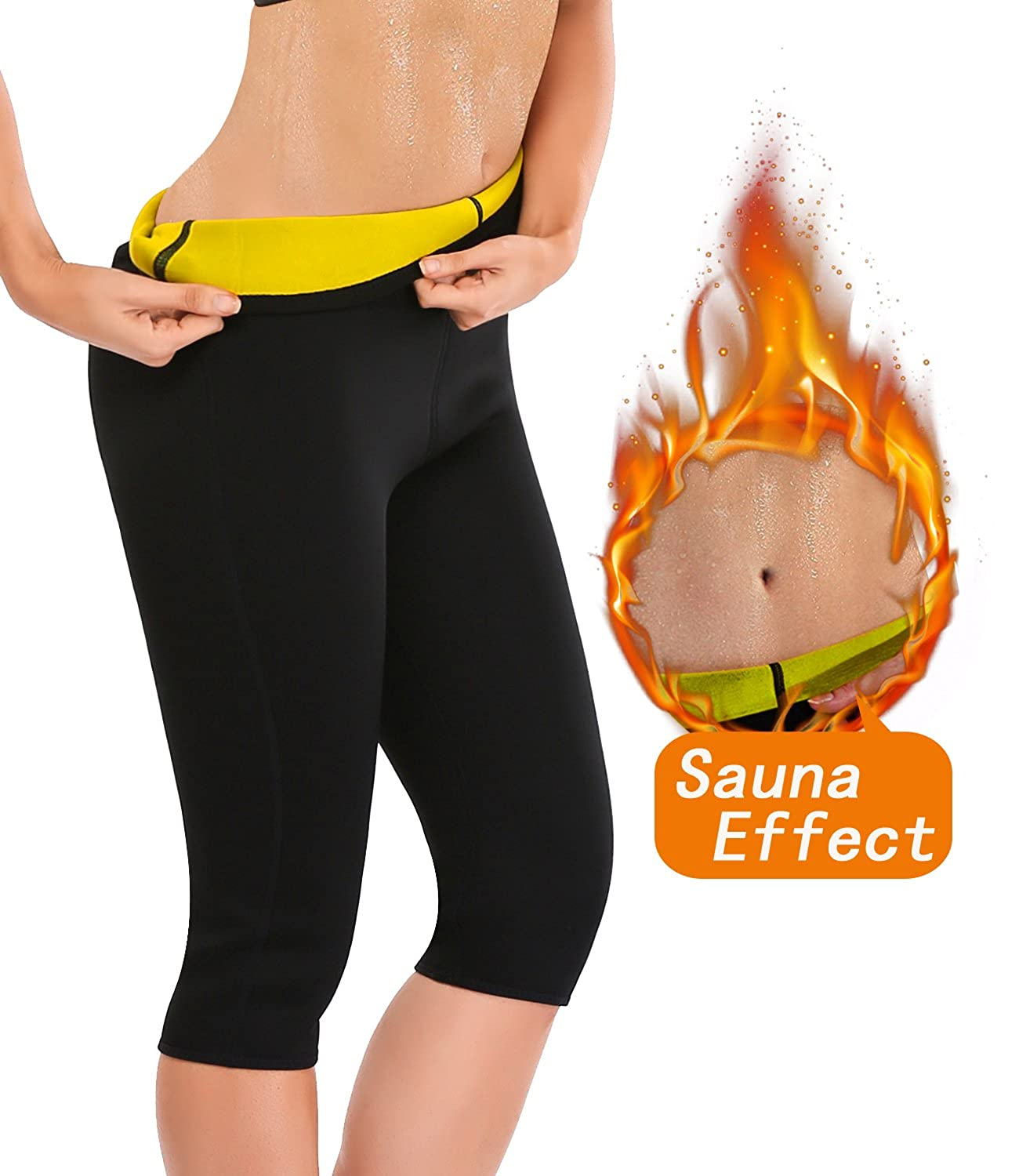LAZAWG Slimming Sauna Sweat Pants Neoprene Hot Thermo Capri Workout Body Shaper CA041LAZAWG