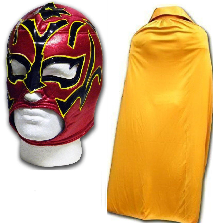 WRESTLING MASKS UK Men's Estrella Fancy Dress Luchador Wrestling Mask With Cape One Size Gold by Wrestling