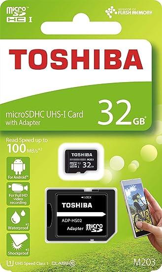 Amazon.com: Tarjeta Micro SD Toshiba de 32 GB M203 microSDHC ...