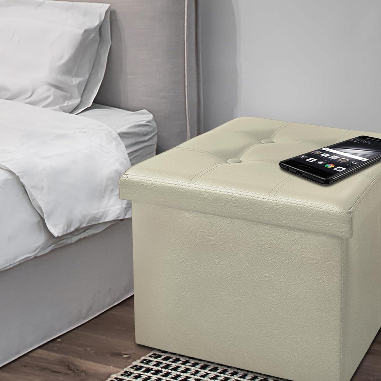3 en 1 : Repose Pied Pouf Coffre Pliable /& Si/ège Rangement Coffre Rangement Simili Cuir Cr/ème casa pura Tabouret Pouf Coffre de Rangement