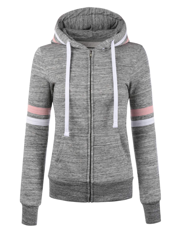 Doublju Lightweight Thin Zip-Up Hoodie Jacket for
