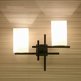 Style européen Simple Retro Créatif À double tête LED Applique murale  moderne Chambre japonaise Décoration noire Décoration Haute luminosité  Verre ...