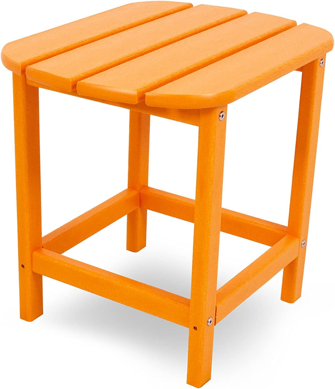 "POLYWOOD SBT18TA South Beach 18"" Outdoor Side Table, Tangerine : Patio Side Tables : Garden & Outdoor"