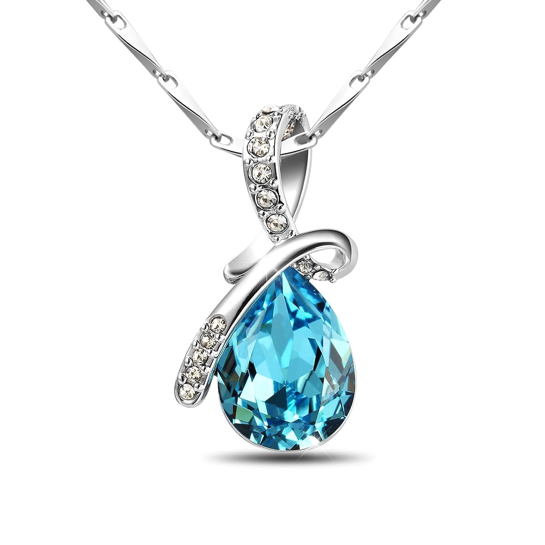 "T400 Jewelers 925 Sterling Silver Teardrop Swarovski Elements Crystal Blue Pendant Necklace 16"" 10707202"