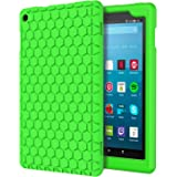 MoKo Case for All-New Amazon Fire HD 8 Tablet (7th and 8th Gen, 2017 and 2018 Release) - [Honey Comb Series] Light Weight Shock Proof Soft Silicone Back Cover [Kids Friendly] for Fire HD 8, Green