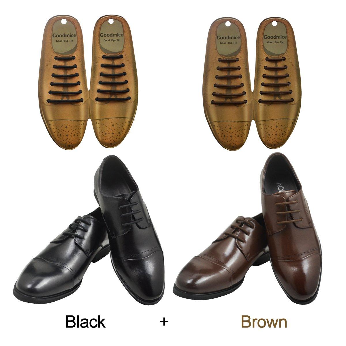 SENT CHARM No Tie Dress Shoe Laces for Men/Women Elastic Rubber Silicone Formal Oxford Shoelaces Best for Dress Shoes Oxford Shoes (Black+Brown)