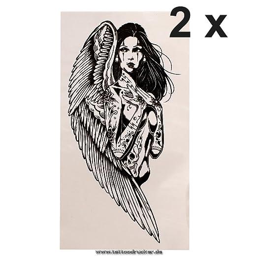 2 ángel tatuaje - en negro - Tatuaje corporal - A1230 (2): Amazon ...