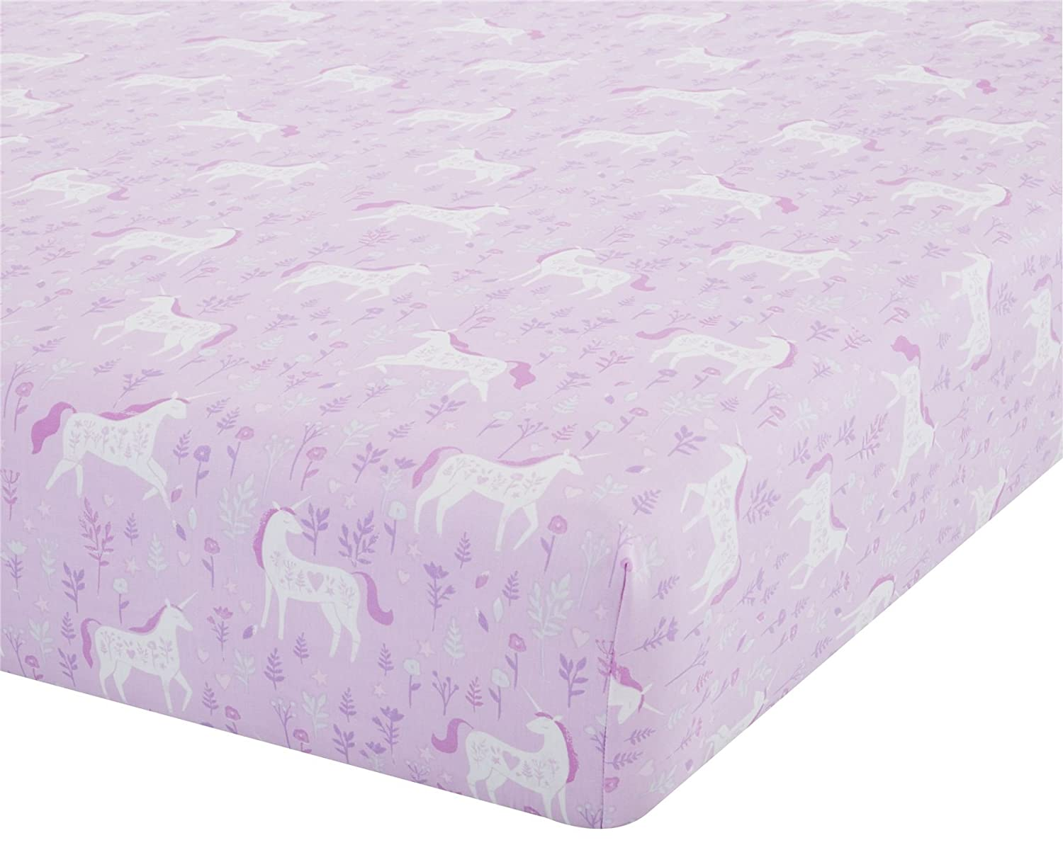 UNICORNS FLOWERS LEAVES PINK WHITE CANADIAN TWIN (90CM X 190CM + 25CM - UK SINGLE) COTTON BLEND FITTED SHEET