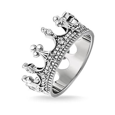e6ac3601b6b Thomas Sabo Women Ring Crown Silver 925 Sterling Silver, Blackened  TR2224-643-14: Amazon.co.uk: Jewellery