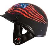 "IV2 ""Liberty or Death"" Matte Black Chopper, Cruiser, Beanie, Half Helmet, Motorcycle Helmet [DOT] - Large"