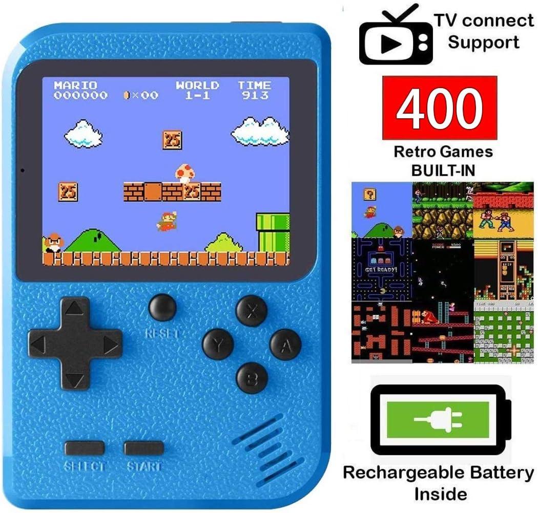 Amazon.es: Bestllin Consola de Juegos portátil, Mini Reproductor de Juegos Retro con 400 Juegos clásicos de FC Pantalla a Color de 3 Pulgadas para TV y batería Recargable de Dos Jugadores para