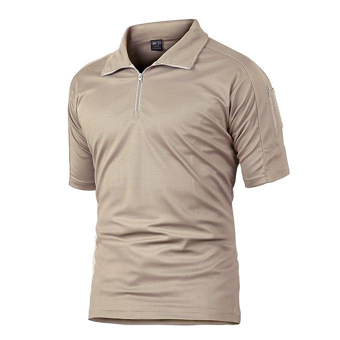 TACVASEN Secado Rápido Militar Táctico Hombre Camiseta Cremallera Camisa Polo: Amazon.es: Ropa y accesorios