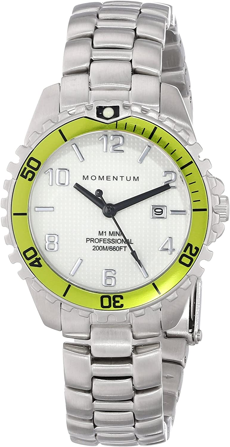 Women s Quartz Watch M1 Mini by Momentum Stainless Steel Watches for Women Dive Watch with Japanese Movement Analog Display Water Resistant Ladies Watch with Date – White Lime Steel