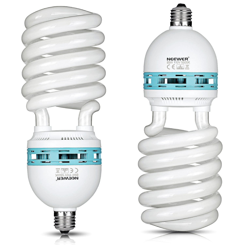 Neewer® 85W 110V 5500K Tri-phosphor Spiral CFL Daylight Balanced Light Bulb in E27 Socket for Photo and Video Studio Lighting(2 Pack)