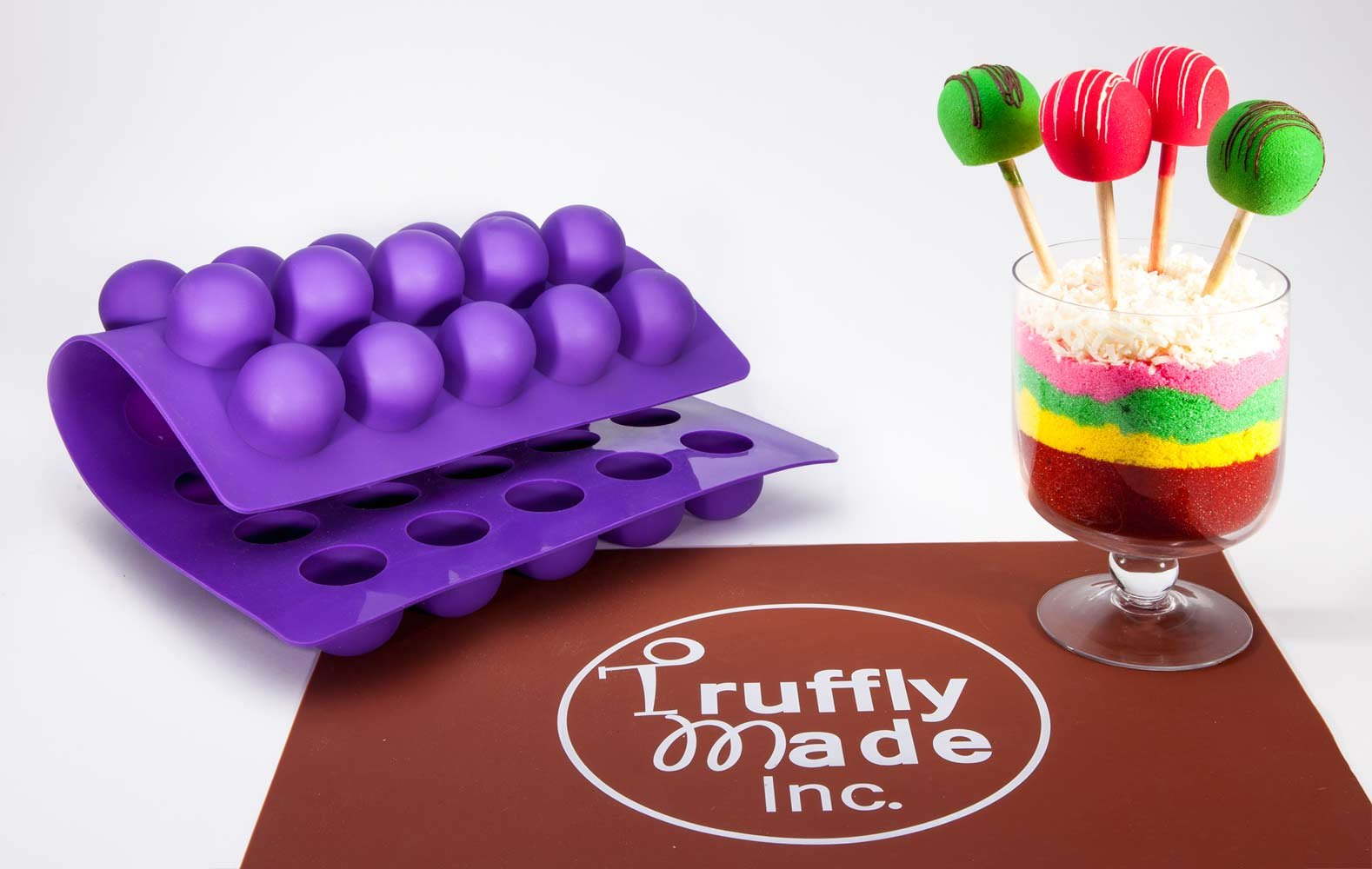 Truffly Made. Big Purple Ice Cream Mold - Sorbet Mold, Mousse Mold, Marshmallow Mold - 35 cavities, One step candy pop-out
