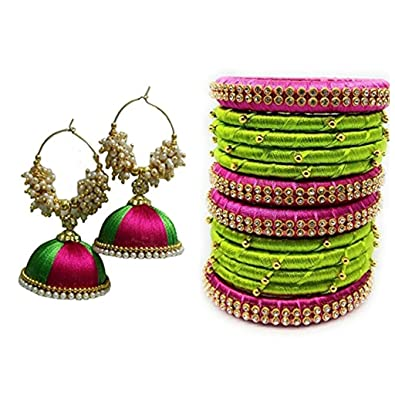 Peach Green And Pink Combo Colour Silk Thread Bangles With Matching