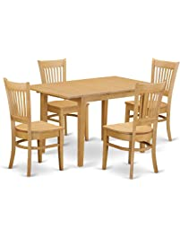 East West Furniture NOVA5 OAK W 5 Piece Dining Table And 4 Chairs Set