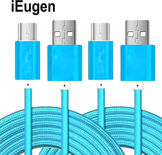 iEugen Micro USB Cable 2Pack 5 Ft Micro USB Fast Charging Cord Charging Nylon Braided Replacement High Speed Data Sync Charger Compatible with Kindle Touch 2011 Kindle Fire Keyboard-Gold+Silver