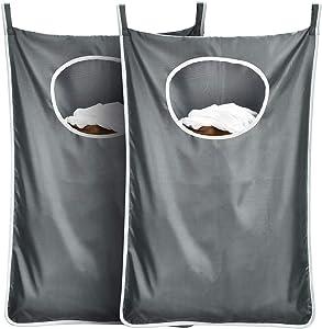 DYHAI Durable Hanging Laundry Bag Hanging Hamper Behind Door Space Saving with Stainless Steel Hooks Zip Laundry Hamper Door Hanging, for Bathroom,Kids Room,2pack(Extra Large-Dark Grey)