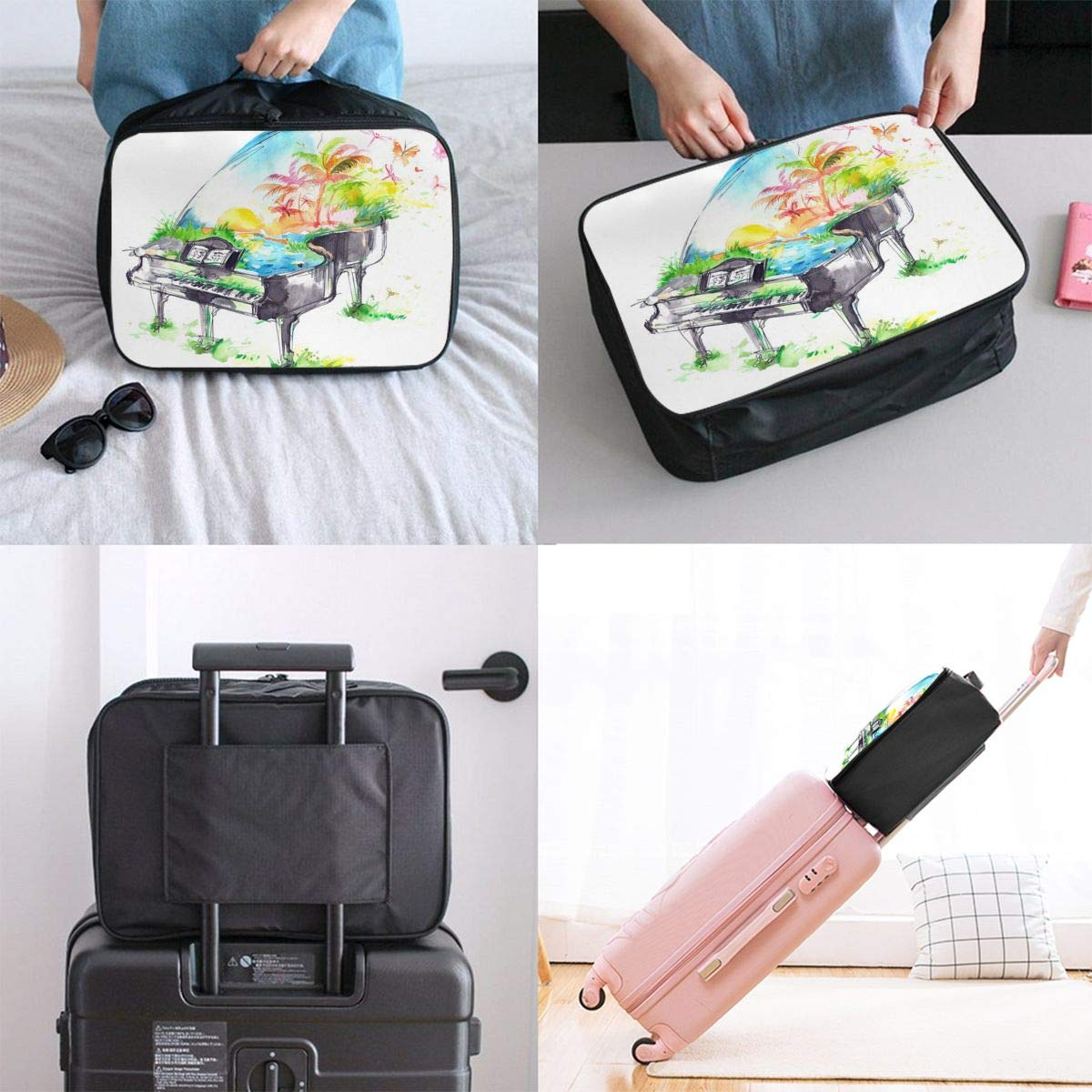 Watercolor Piano Colorful Travel Lightweight Waterproof Foldable Storage Carry Luggage Duffle Tote Bag Large Capacity In Trolley Handle Bags 6x11x15 Inch