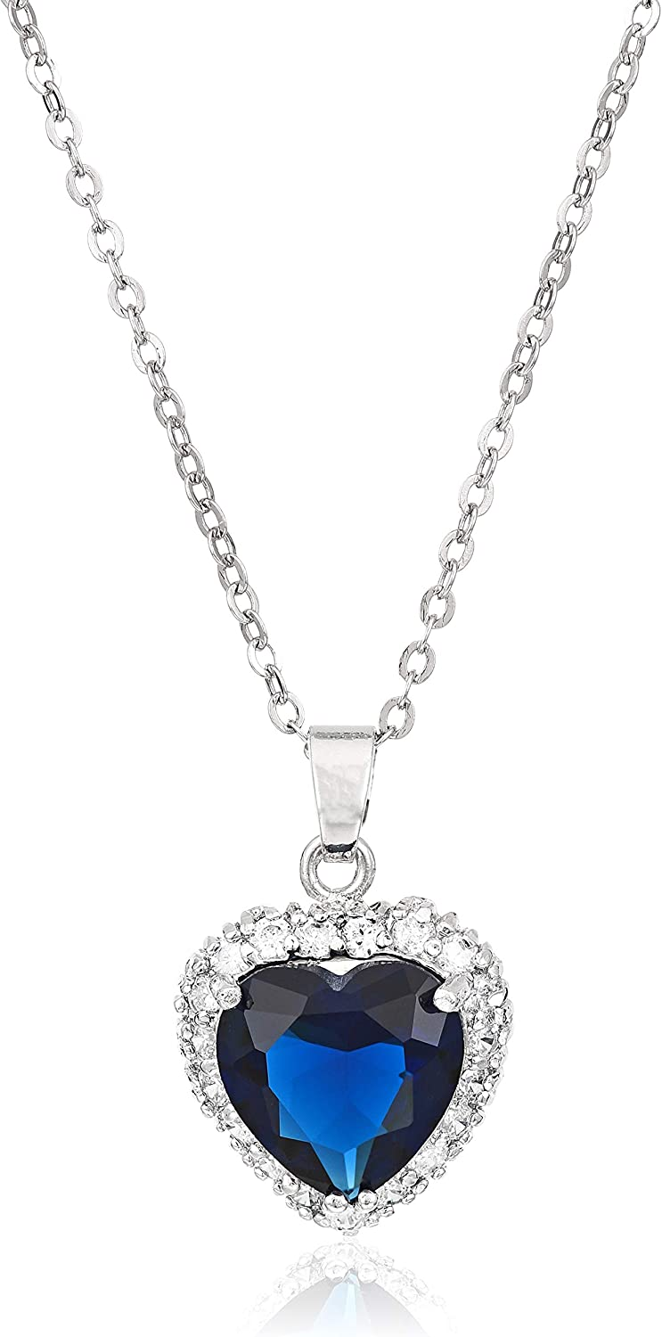 White gold finish 18k gold blue sapphire heart pendant necklace gift boxed