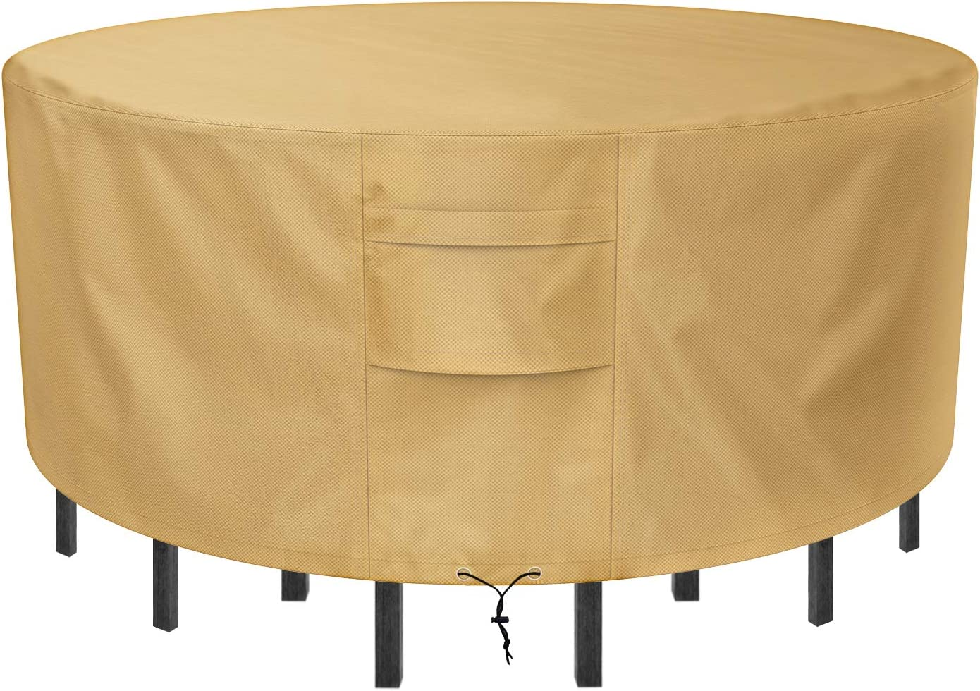 Sunkorto Round Patio Table & Chair Set Cover, Waterproof & Wear-Resistant Patio Furniture Cover, 94 inch Diameter, Light Brown: Kitchen & Dining